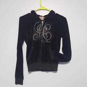 Juicy Couture Black Velvet Hoodie Jacket Size S